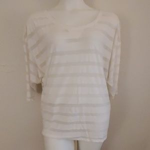 Old Navy white striped sheer 3/4 sleeve tee